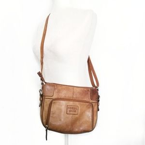 Fossil Vintage crossbody bag leather tan brown